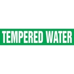 "Pipe Marker, TEMPERED WATER, 2.5"" x 12"", Dura-Polyester Vinyl, White on Green"