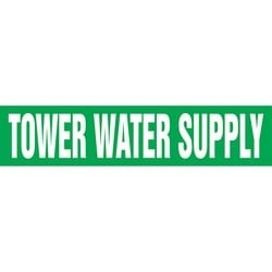 "Pipe Marker, TOWER WATER SUPPLY, 4"" x 24"", Dura-Polyester Vinyl, White on Green"