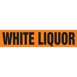 """Pipe Marker, WHITE LIQUOR, 1"""" x 8"""", Dura-Polyester Vinyl, Black on Orange"""