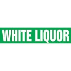 """Pipe Marker, WHITE LIQUOR, 9"""" x 8"""", Coiled Rigid Vinyl, White on Green"""