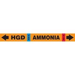 """IIAR Ammonia Pipe Marker, HGD VAP AMMONIA HIGH, 1"""" x 11"""", Dura-Polyester Vinyl, Black on Orange"""