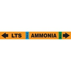 """IIAR Ammonia Pipe Marker, LTS VAP AMMONIA LOW, 1"""" x 11"""", Dura-Polyester Vinyl, Black on Orange"""