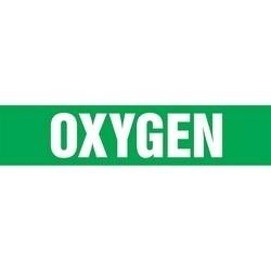 "Medical Gas Pipe Marker, OXYGEN, 3"" x 3"", Dura-Polyester Vinyl, White on Green, 20/PK"