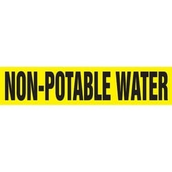 "Roll Form, Pipe Marker, NON-POTABLE WATER, 12"" x 30-ft, Dura-Polyester Vinyl, Black on Yellow, RL"