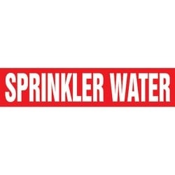 "Roll Form, Pipe Marker, SPRINKLER WATER, 12"" x 30-ft, Dura-Polyester Vinyl, White on Red, RL"