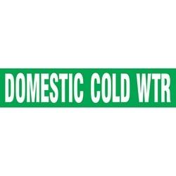 "Roll Tape, Pipe Marker, DOMESTIC COLD WTR, 2"" x 54-ft, Dura-Polyester Vinyl, White on Green, RL"