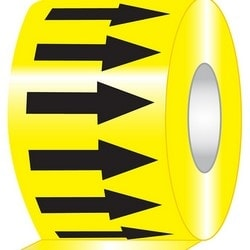"Arrow Tape, (repeating arrows), 4"" x 108-ft, Adhesive Vinyl, Black on Yellow, RL"