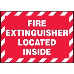 """Safety Sign, FIRE EXTINGUISHER LOCATED INSIDE, 3.5"""" x 5"""", Dura-Polyester Vinyl, White on Red"""