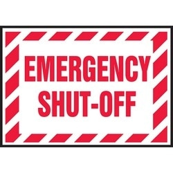 "Safety Sign, EMERGENCY SHUT-OFF, 3.5"" x 5"", Dura-Polyester Vinyl, Red on White"