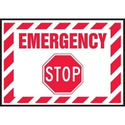 """Safety Sign, EMERGENCY STOP, 3.5"""" x 5"""", Dura-Polyester Vinyl, Red on White"""