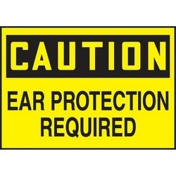"Safety Sign, CAUTION EAR PROTECTION REQUIRED, 3.5"" x 5"", Dura-Polyester Vinyl, Black on Yellow"