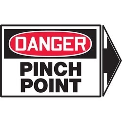 "Safety Sign, DANGER PINCH POINT, 3.5"" x 5"", Dura-Polyester Vinyl, Red/Black on White"