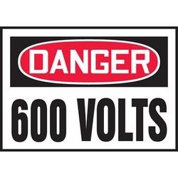 "Safety Sign, DANGER 600 VOLTS, 3.5"" x 5"", Dura-Polyester Vinyl, Red/Black on White"