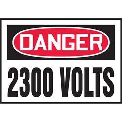"Safety Sign, DANGER 2300 VOLTS, 3.5"" x 5"", Dura-Polyester Vinyl, Red/Black on White"