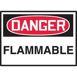 "Safety Sign, DANGER FLAMMABLE, 3.5"" x 5"", Dura-Polyester Vinyl, Red/Black on White"