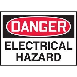 "Safety Sign, DANGER ELECTRICAL HAZARD, 3.5"" x 5"", Dura-Polyester Vinyl, Red/Black on White"