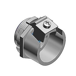 Metal-Clad and Armored Cable Fitting, Straight, Trade Size 2 Inch, Knockout Size 2 Inch, Cable Range 2.312 to 2.500 Inch, Malleable Iron with Zinc Plating, Nylon Insulated