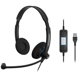 Headset, Double Side, Noise-Cancelling Microphone, Stereo UC HS with Call Control, 113 dB Sound Pressure, USB Connector, 6.89' Cable Length, Black with Blue Color