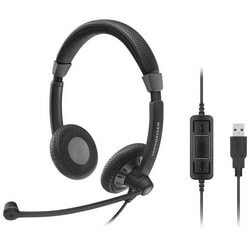 Headset, Double Side, Noise-Cancelling Microphone, Binaural UC Headset with call control, 113 dB Sound Pressure, USB Connector, 6.89' Cable Length, Black Color