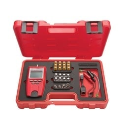 Cable Test Kit, Includes VDV Cable Tester, RJ45/Coax Remote ID Set, RJ45 Port Saver, RJ45-Alligator Clip/No-Fault Cable, F Female/BNC to Female/Male Adapter, Battery, Instruction