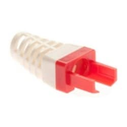 """Connector Strain Relief, Color Coded, 0.235"""" Cable Outer Diameter, For EZ-RJ45 Cat6 Connector, Red Color, 50 Piece Clamshell Packaging"""