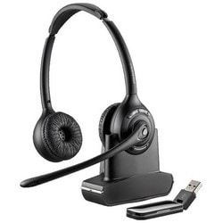 USB Wireless Headset System, Over-the-Head, Binaural, DECT 6.0, 300' Range, 13 Hour Talk Time, 6800 Hz Frequency, Connects to PC and Mac Via USB Adapter, UC Version
