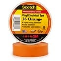 """Electrical Tape, Premium Grade, 66' Length x 3/4"""" Width x 7 Mil Thk, 17 Inch-Lb. Breaking Strength, Polyvinyl Chloride Backing, Rubber Resin Adhesive, Orange Color"""
