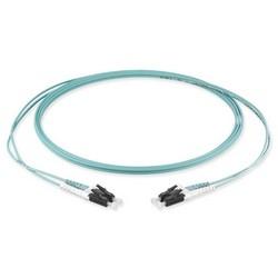 Fiber Patch Cord, OM4 1, 2-Fibers, LC Duplex To LC Duplex, Zipcord Tight-Buffered Cable, 2.0mm Legs.50um Clearcurve Multimode, LSZH, Aqua.5m