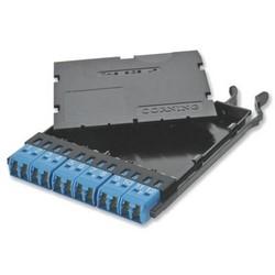 Adapter Panel, OS2, 12-Fiber, LC Duplex Connector, 100 MM Width x 124 MM Depth x 12 MM Height, Black Composite Housing