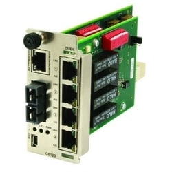 ION T1/E1/J1 Network Interface Device Module, 1 SFP port (Empty) to (4) RJ-48 [1.5 km/0.9 mi.] plus 10/100Base-TX (RJ-45) [100m]