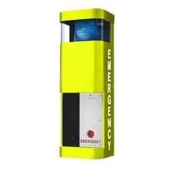 Fixé au mur peint jaune en acier inoxydable téléphone Station intégrée bleu lumière/Strobe et plaque frontale lumière, 120 V AC. Spécifier le lettrage sur les côtés avec ordonnance