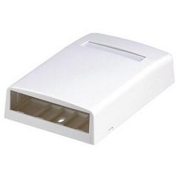 "Mini-Com Surface Mount Box, Accepts Four Mini-Com Modules, Includes Label Holder/Screw Cover, Dimensions: 1.06""H x 2.90""W x 4.50""L (27.0mm x 73.6mm x 114.3mm), Electric Ivory"