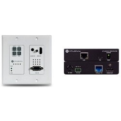 4K/UHD HDBaseT TX/RX with Two-Input Wallplate Switcher, Ethernet, Control, and PoE