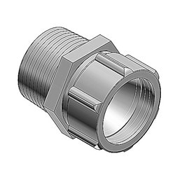 Watertight Connector For Oval Cable, Hub Size 3/4 Inch, Die Cast Zinc Body With Neoprene Bushing, Oval Cable Range Maximum .385 X .600 Inch, Minimum .260 X .500 Inch