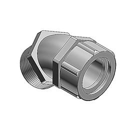 Liquidtight Strain Relief Cord Connector, 1/2 Inch, 45 Degree Bend, Meets Coast Guard CG293, Cord Range 0.625 To 0.750 Inch, Malleable Iron