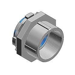 3-1/2 Inch Hub Connector, Malleable Iron Electro Zinc Plated, Nylon Insulated For Use With Rigid/IMC Conduit