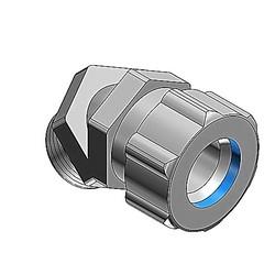 Liquidtight Strain Relief Connector, 3/4 Inch, 45 Degree Bend, Cord Range 0.310 To 0.560 Inch, Throat Diameter 25/32 Inch, Malleable Iron Body, Steel Gland, Plastic Grip, Santoprene Bushing