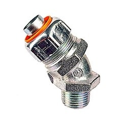 3/4 Inch 45 Degree Steel Insulated Liquidtight Push-in Connector