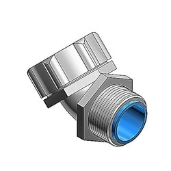 3/8 Inch 45 Degree Steel Insulated Liquidtight Connector With PG Thread And Chromate Finish, Thread Size 11