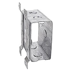 Thru-wall Box, 32 Cubic Inches, 4 Inches Long X 2-1/16 Inches Wide X 4-5/16 Inches Deep, 1/2 Inch And 3/4 Inch Knockouts For Plaster Or Dry Wall, Pre-galvanized Steel, V Bracket, For Use With Conduit