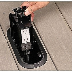 Deck Grommet Pro, Length 9.18 Inches, Width 4.75 Inches, Depth 2.875 Inches, Black, Non-Metallic, Includes Four Arms and #8-32 Screws for Attachment to Deck and 2 Cord Fittings