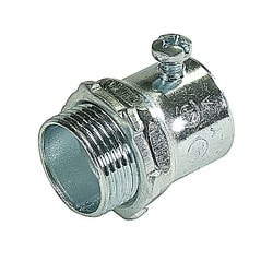 Set Screw Connector, Concrete Tight, Conduit Size 3/4 Inch, Material Zinc Plated Steel, For Use With EMT Conduit
