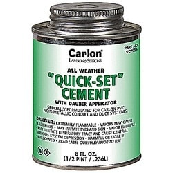 Quart Size All Weather Quickset Clear Cement With Dauber Applicator.
