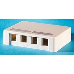 "Surface Mount Box, 4.78"" W x 1.14"" D x 3.6"" H, 4-Port, High Impact Thermoplastic ABS 94V-0, Fog White, Plastic Keystone Jack Surface Box, With Mounting Hardware"