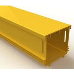 "Fiber Raceway Solid Duct, Straight, Fire Retardant Plastic, Yellow, With 8"" W x 4"" H Hinged Cover"