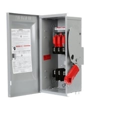 Safety Switch, Heavy Duty, Fused, 600 Volt AC, 30A, 3 HP at 1 Phase, 5 HP at 3 Phase, 7-1/2 HP at 3 Phase, 3 Pole, 3 Fuse, 4 Wire, NEMA 1, Steel, For Indoor