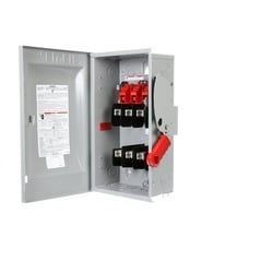 Safety Switch, Heavy Duty, Fused, 600 Volt AC, 60A, 5/10 HP at 1 Phase, 15 HP at 3 Phase, 3 Pole, 3 Fuse, 4 Wire, NEMA 1, Steel, For Indoor