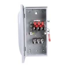 Safety Switch, Enclosed, Single Throw, Heavy Duty, 600 Volt AC, 100A, 4W, 3 Pole, 4 Wire, 3 Fuse, NEMA 3R, 304 Stainless Steel, For Outdoor