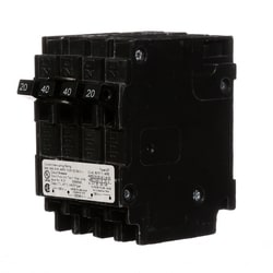Molded Case Circuit Breaker, Triplex, Common Trip, Plug-In, 3 Pole, 120/240 Volt AC, 20/40A, 10 kA Interrupting Rating
