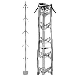 77 foot commercial guyed tower with 10 sections and 4 guy stations.